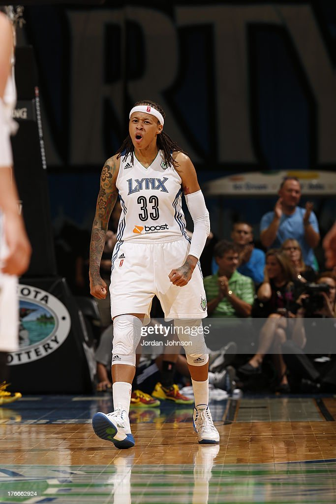 Seimone Augustus #33 of the Minnesota Lynx reacts to the play against the Tulsa Shock during the WNBA game on August 16, 2013 at Target Center in Minneapolis, Minnesota.