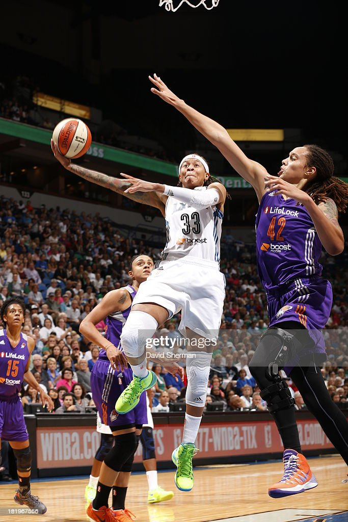 <a gi-track='captionPersonalityLinkClicked' href=/galleries/search?phrase=Seimone+Augustus&family=editorial&specificpeople=540457 ng-click='$event.stopPropagation()'>Seimone Augustus</a> #33 of the Minnesota Lynx shoots against <a gi-track='captionPersonalityLinkClicked' href=/galleries/search?phrase=Brittney+Griner&family=editorial&specificpeople=6836945 ng-click='$event.stopPropagation()'>Brittney Griner</a> #42 of the Phoenix Mercury during the WNBA Western Conference Finals Game 1 on September 26, 2013 at Target Center in Minneapolis, Minnesota.