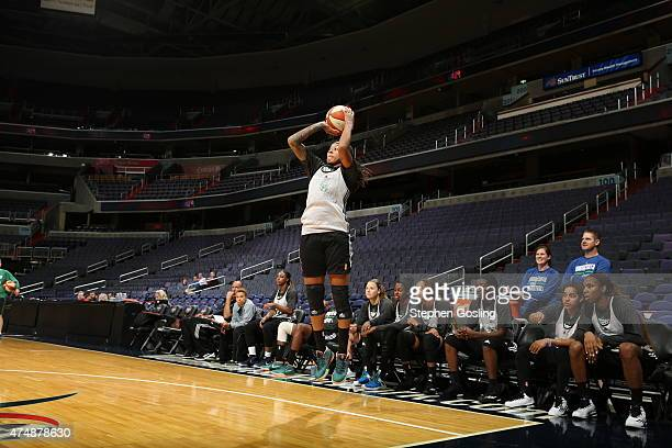 Seimone Augustus of the Minnesota Lynx shoots against the Washington Mystics during an Analytic Scrimmage at the Verizon Center on May 26 2015 in...