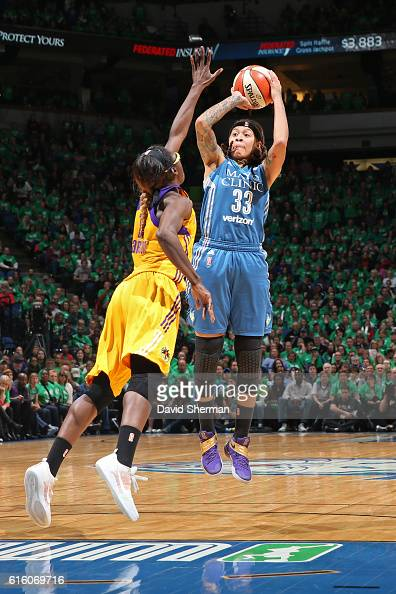 Seimone Augustus of the Minnesota Lynx shoots the ball against the Los Angeles Sparks during Game Five of the 2016 WNBA Finals on October 20 2016 at...