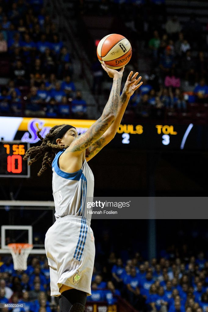 Seimone Augustus #33 of the Minnesota Lynx shoots the ball against the Los Angeles Sparks during the first quarter of Game Two of the WNBA Finals on September 26, 2017 at Williams in Minneapolis, Minnesota. The Lynx defeated the Sparks 70-68.