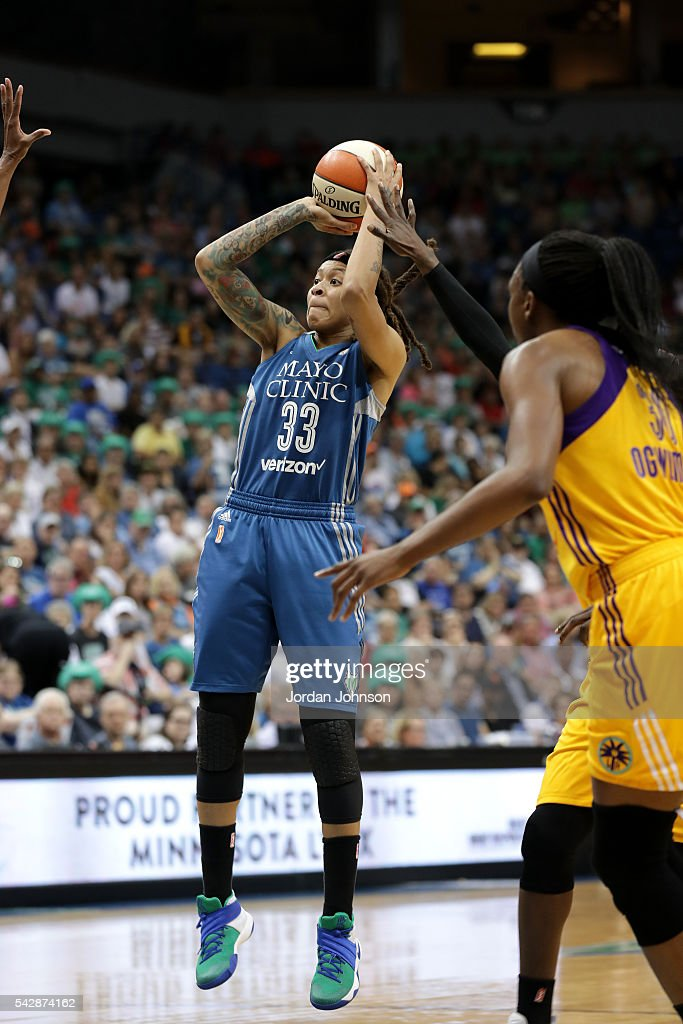 Seimone Augustus #33 of the Minnesota Lynx shoots the ball during the game against the Los Angeles Sparks during the WNBA game on June 24, 2016 at Target Center in Minneapolis, Minnesota.