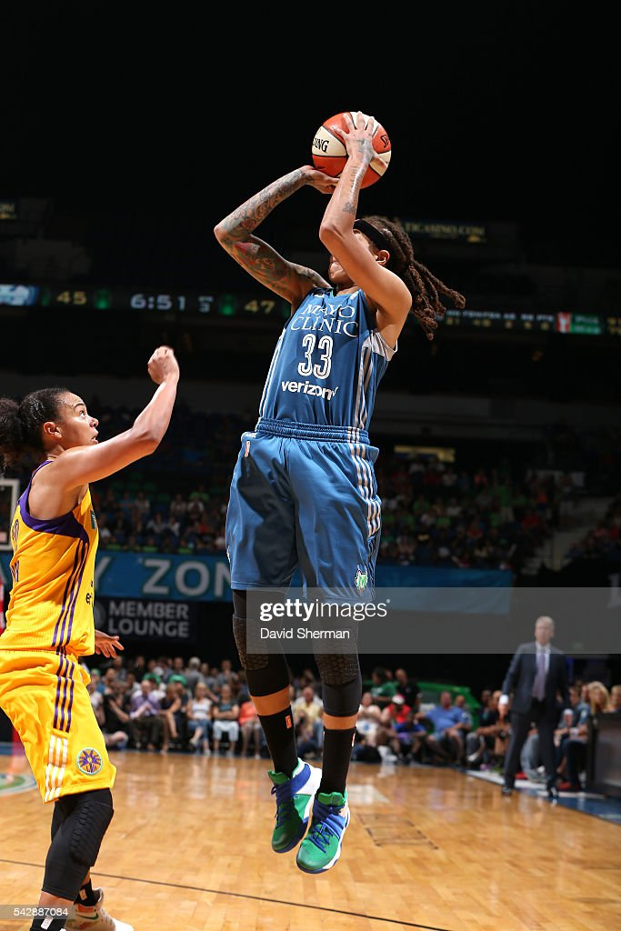 <a gi-track='captionPersonalityLinkClicked' href=/galleries/search?phrase=Seimone+Augustus&family=editorial&specificpeople=540457 ng-click='$event.stopPropagation()'>Seimone Augustus</a> #33 of the Minnesota Lynx shoots the ball during the game against the Los Angeles Sparks during the WNBA game on June 24, 2016 at Target Center in Minneapolis, Minnesota.