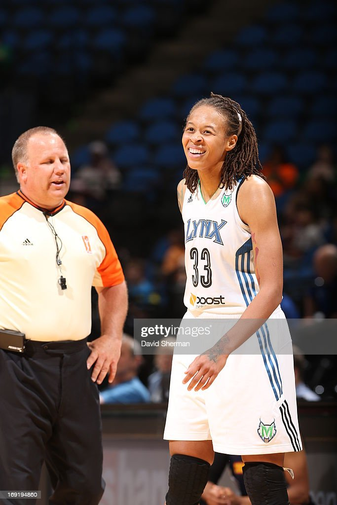 Seimone Augustus #33 of the Minnesota Lynx smiles during the WNBA pre-season game against the Connecticut Sun on May 21, 2013 at Target Center in Minneapolis, Minnesota.