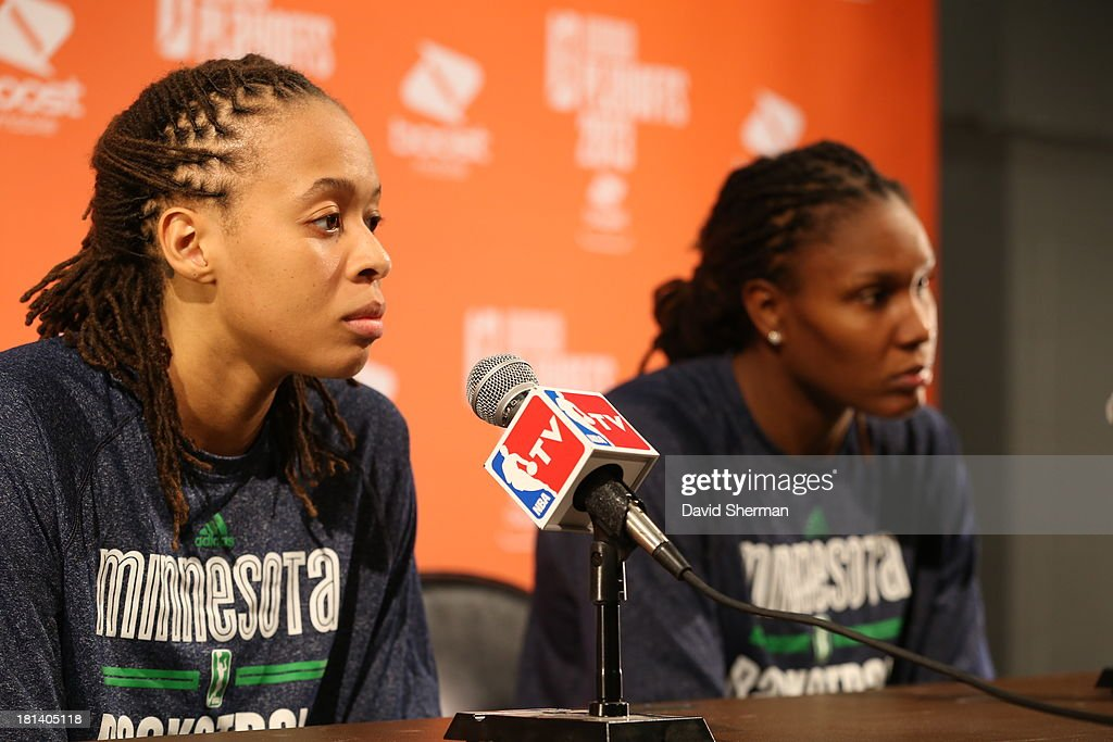 Seimone Augustus #33 of the Minnesota Lynx speaks to the media after winning 80-64 over the Seattle Storm the WNBA Western Conference Semifinals Game 1 on September 20, 2013 at Target Center in Minneapolis, Minnesota.