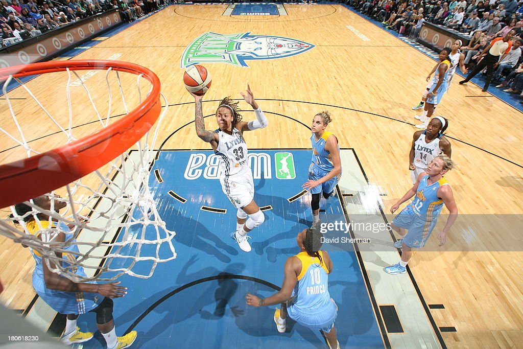 <a gi-track='captionPersonalityLinkClicked' href=/galleries/search?phrase=Seimone+Augustus&family=editorial&specificpeople=540457 ng-click='$event.stopPropagation()'>Seimone Augustus</a> #33 of the Minnesota Lynx takes a jump shot against the Chicago Sky during the WNBA game on September 14, 2013 at Target Center in Minneapolis, Minnesota.
