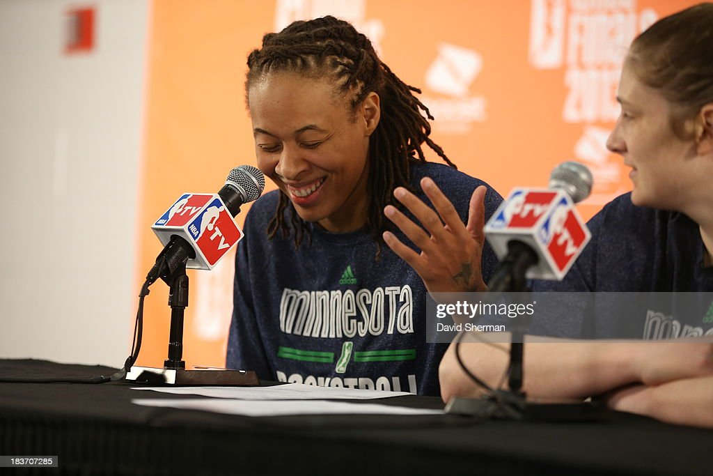 <a gi-track='captionPersonalityLinkClicked' href=/galleries/search?phrase=Seimone+Augustus&family=editorial&specificpeople=540457 ng-click='$event.stopPropagation()'>Seimone Augustus</a> #33 of the Minnesota Lynx talks to media after Game 2 of the 2013 WNBA Finals on October 8, 2013 at Target Center in Minneapolis, Minnesota.