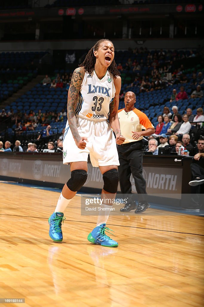 Seimone Augustus #33 of the Minnesota Lynx yells during the WNBA pre-season game against the Connecticut sun on May 21, 2013 at Target Center in Minneapolis, Minnesota.