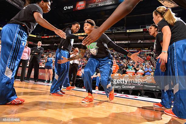 Seimone Augustus of the Minnesota Timberwolves is introduced before the game against the Phoenix Mercury in Game 3 of the 2014 WNBA Western...