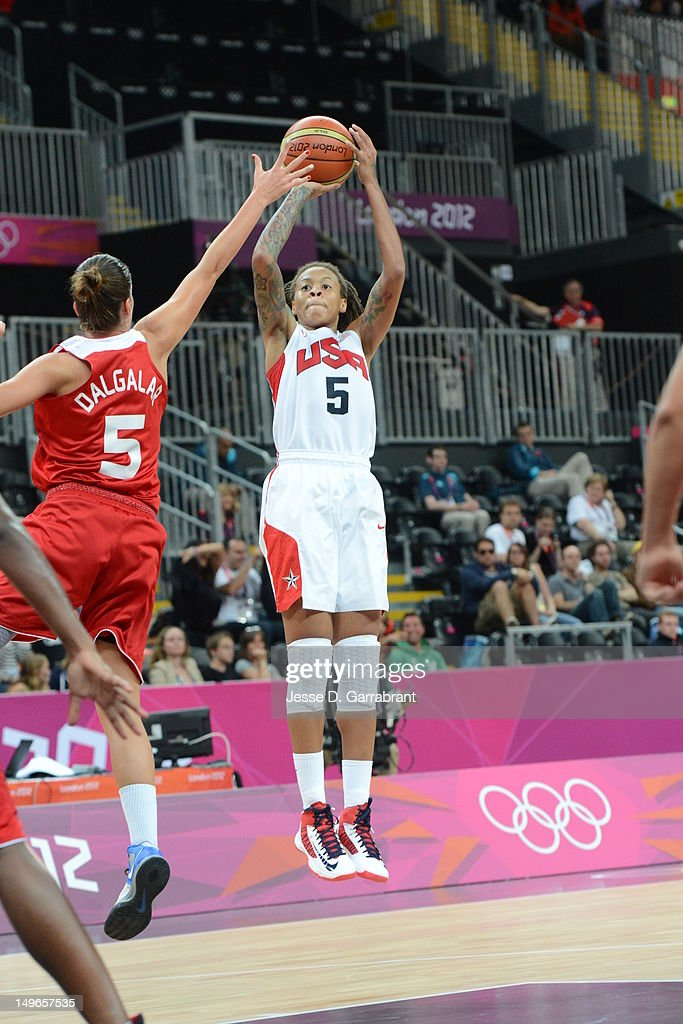 <a gi-track='captionPersonalityLinkClicked' href=/galleries/search?phrase=Seimone+Augustus&family=editorial&specificpeople=540457 ng-click='$event.stopPropagation()'>Seimone Augustus</a> #5 of the United States shoots against Turkey during their Basketball Game on Day 5 of the London 2012 Olympic Games at the Olympic Park Basketball Arena on August 1, 2012 in London, England.
