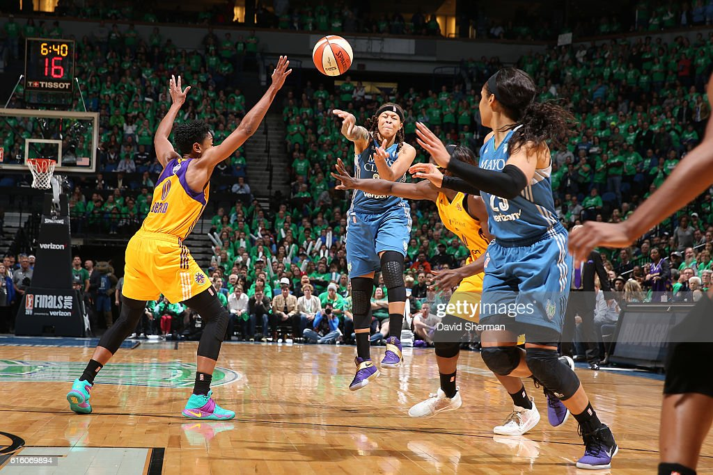 Seimone Augustus #33 passses the ball to Maya Moore #23 of the Minnesota Lynx against the Los Angeles Sparks during Game Five of the 2016 WNBA Finals on October 20, 2016 at Target Center in Minneapolis, Minnesota.