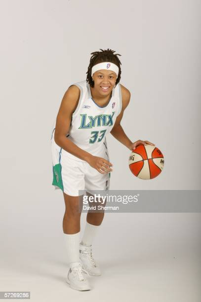 Seimone Augustus the 2006 WNBA overall draft pick of the Minnesota Lynx poses for portraits on April 6 2006 at the Target Center in Minneapolis...