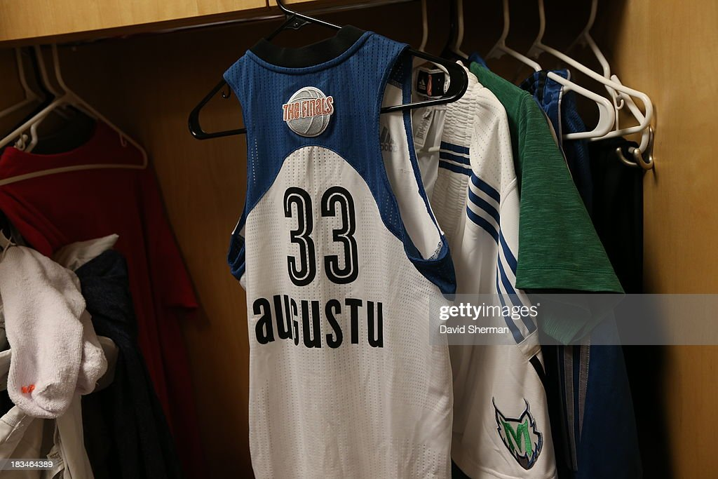 Seimone Augustus' WNBA Finals jersey hangs in her locker prior to Game 1 of the 2013 WNBA Finals against the Atlanta Dream on October 6, 2013 at Target Center in Minneapolis, Minnesota.