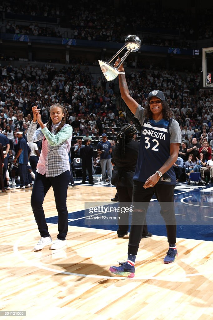 Seimone Augustuson and Rebekkah Brunson of the Minnesota Lynx's are seen during the game between the Minnesota Timberwolves and Utah Jazz on October 20, 2017 at Target Center in Minneapolis, Minnesota.