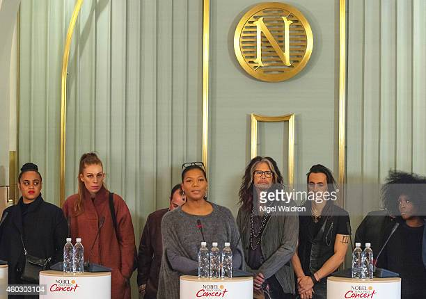 Seinabo Sey Gabrielle Ustad Rahat Fateh Ali Khan Queen Latifah Steven Tyler and Laura Mvula attend the press conference ahead of the Nobel Peace...