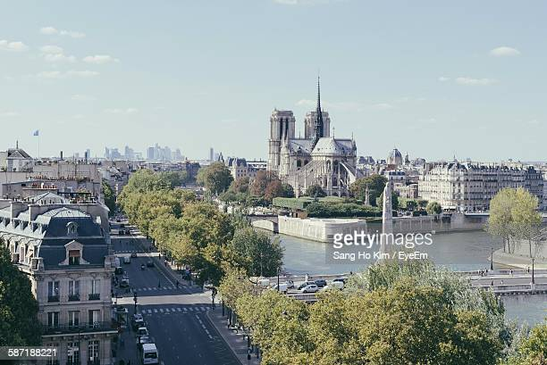 Seine River Against Notre Dame De Paris