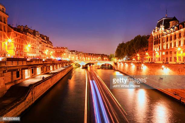 Seine River at night. Paris. France.
