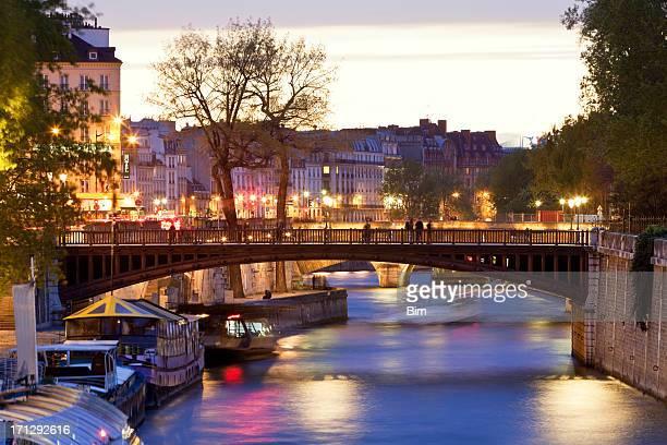 Seine River & Pont au Double at Dusk, Paris, France