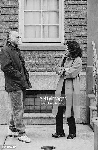 'Seinfeld' cocreator Larry David and actress Julia LouisDreyfus who plays 'Elaine' talk on the set in between filming the last episode of the hit...