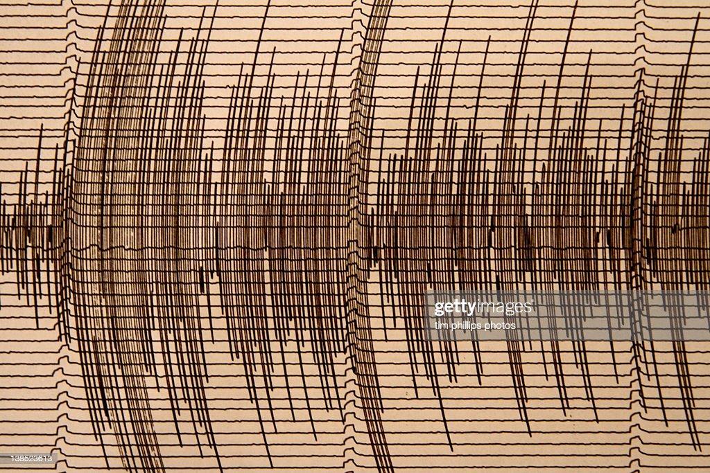 Seismograph recording earthquake