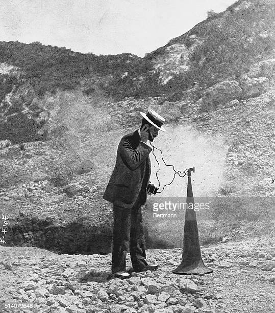 Seismologist Frank A Perret listens to the rumblings of the Solfatar Volcano in Italy He uses an amplifier aimed at the ground | Location Solfatara...