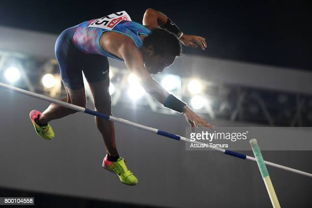 Seito Yamamoto of Japan competes in the Men pole vault final during the 101st Japan National Championships at Yanmar Stadium Nagai on June 23 2017 in...