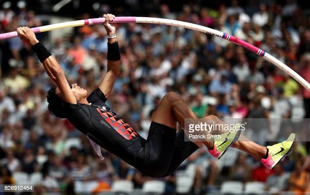 Seito Yamamoto of Japan competes in the Men's Pole Vault qualification during day three of the 16th IAAF World Athletics Championships London 2017 at...