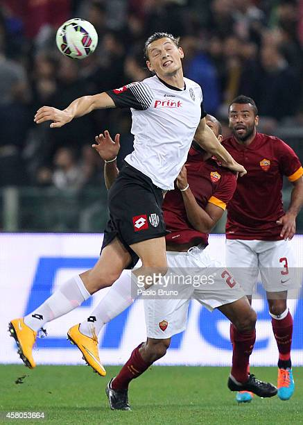 Seitou Keita of AS Roma competes for the ball with Milan Djuric of AC Cesena during the Serie A match between AS Roma and AC Cesena at Stadio...