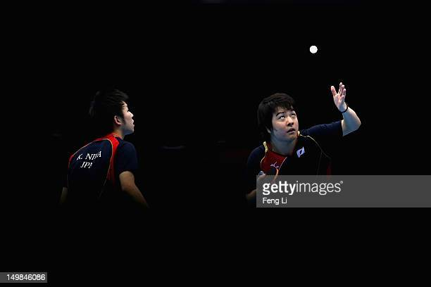 Seiya Kishikawa and Koki Niwa of Japan competes during Men's Team Table Tennis quarterfinal match against team of Hong Kong China on Day 9 of the...