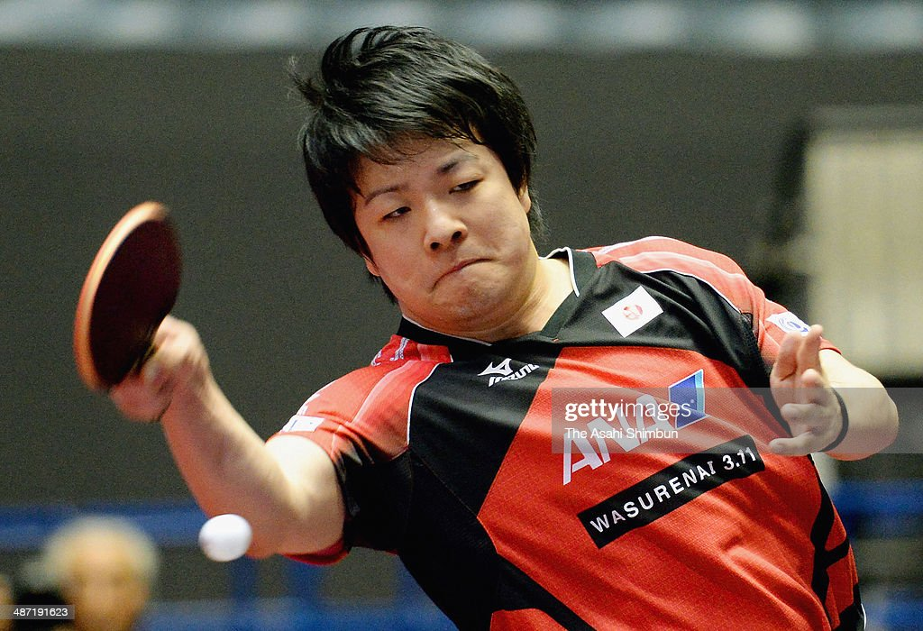 Seiya Kishikawa of Japan competes in the match against Panagiotis Gionis of Greece during day one of the 2014 World Team Table Tennis Championships at Yoyogi National Gymnasium on April 28, 2014 in Tokyo, Japan.