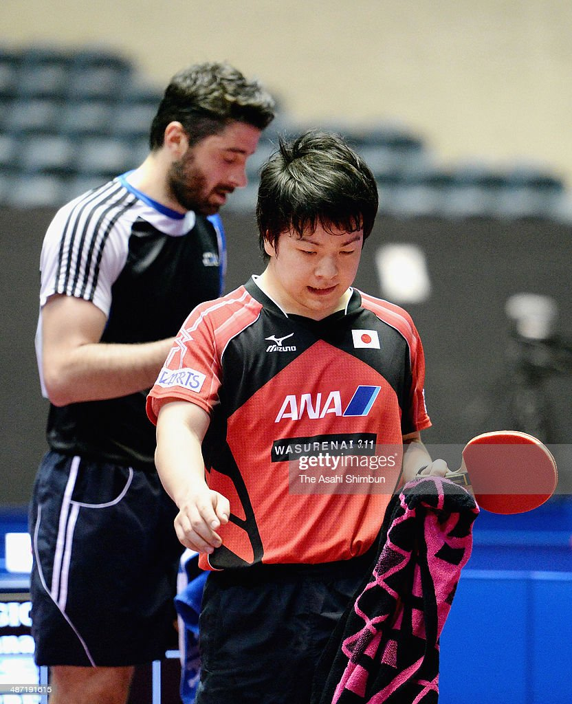 Seiya Kishikawa of Japan leaves after losing the match against Panagiotis Gionis of Greece during day one of the 2014 World Team Table Tennis Championships at Yoyogi National Gymnasium on April 28, 2014 in Tokyo, Japan.