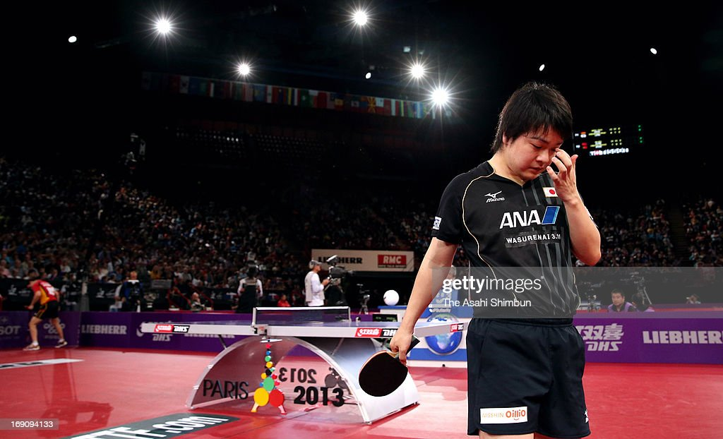 <a gi-track='captionPersonalityLinkClicked' href=/galleries/search?phrase=Seiya+Kishikawa&family=editorial&specificpeople=665374 ng-click='$event.stopPropagation()'>Seiya Kishikawa</a> of Japan leaves after the Men's Singles Round of 16 match against Timo Boll of Germany during day six of the World Table Tennis Championships on May 18, 2013 in Paris, France.