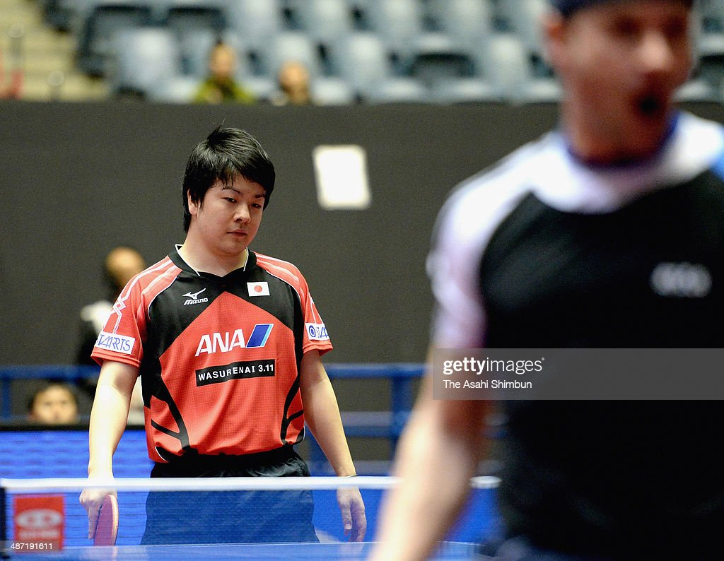 Seiya Kishikawa of Japan reacts after losing a point during the match against Kalinikos Kreanga of Greece during day one of the 2014 World Team Table Tennis Championships at Yoyogi National Gymnasium on April 28, 2014 in Tokyo, Japan.