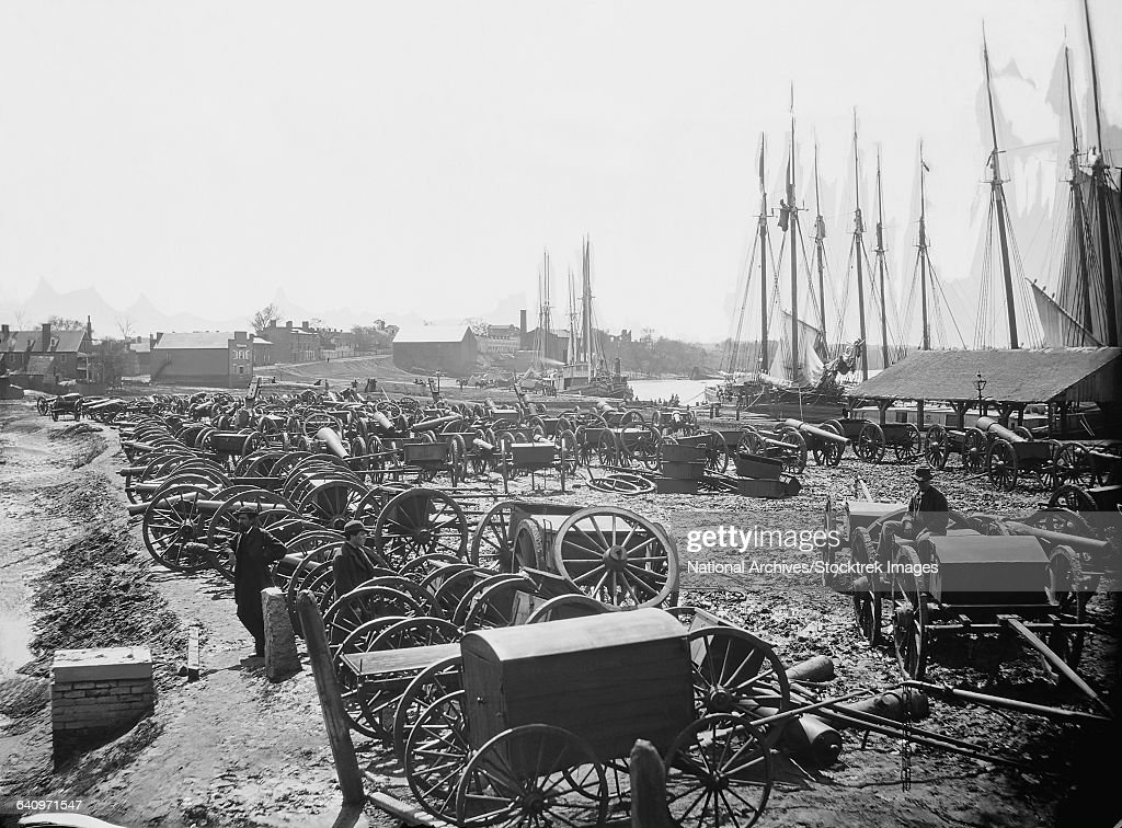 Seized Confederate cannons and caissons on the wharf in Richmond, Virginia