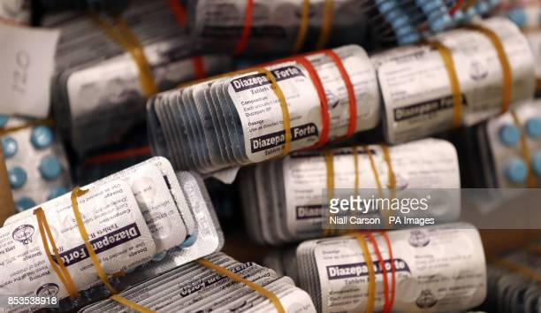 Seized packets of the benzodiazepine Diazepam on display at the Health Products Regulatory Authority Headquarters in Dublin after a Europewide...