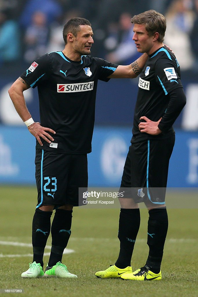 Sejad Sahilovic and Sven Schipplock of Hoffenheim look dejected after losing 0-3 the Bundesliga match between FC Schalke 04 and TSG 1899 Hoffenheim at Veltins-Arena on March 30, 2013 in Gelsenkirchen, Germany.