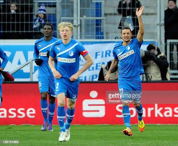 Sejad Salihovic of Hoffenheim celebrates after scoring his teams second goal during the Bundesliga match between TSG 1899 Hoffenheim and FC Augsburg...