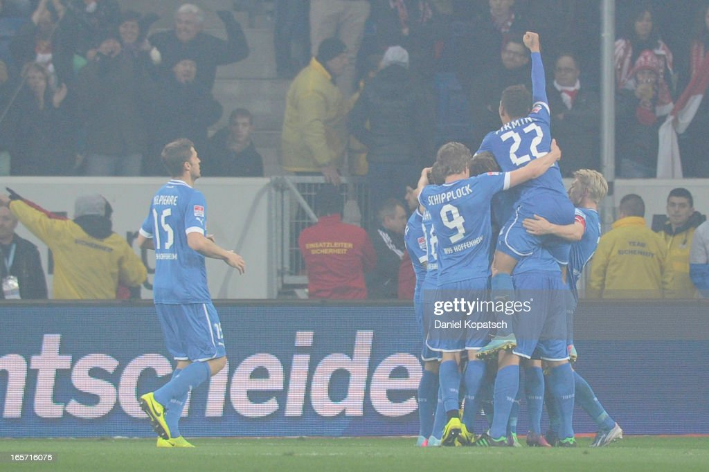 <a gi-track='captionPersonalityLinkClicked' href=/galleries/search?phrase=Sejad+Salihovic&family=editorial&specificpeople=758626 ng-click='$event.stopPropagation()'>Sejad Salihovic</a> of Hoffenheim (hidden) celebrates his team's second goal with team mates during the Bundesliga match between TSG 1899 Hoffenheim and Fortuna Duesseldorf 1895 at Rhein-Neckar-Arena on April 5, 2013 in Sinsheim, Germany.