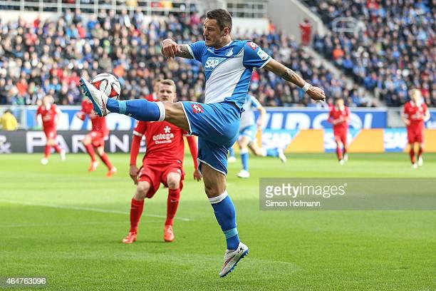 Sejad Salihovic of Hoffenheim controls the ball during the Bundesliga match between 1899 Hoffenheim and 1 FSV Mainz 05 at Wirsol RheinNeckarArena on...