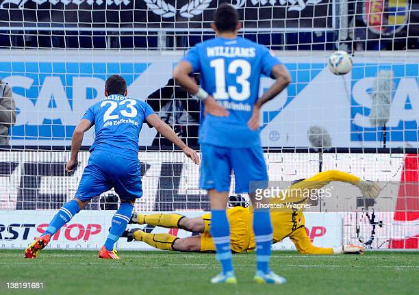 Sejad Salihovic of Hoffenheim is scoring his teams second goal with a penalty during the Bundesliga match between TSG 1899 Hoffenheim and FC Augsburg...