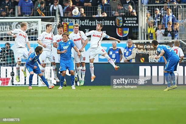 Sejad Salihovic of Hoffenheim scores his team's first goal during the Bundesliga match between 1899 Hoffenheim and FC Augsburg at Wirsol RheinNeckar...