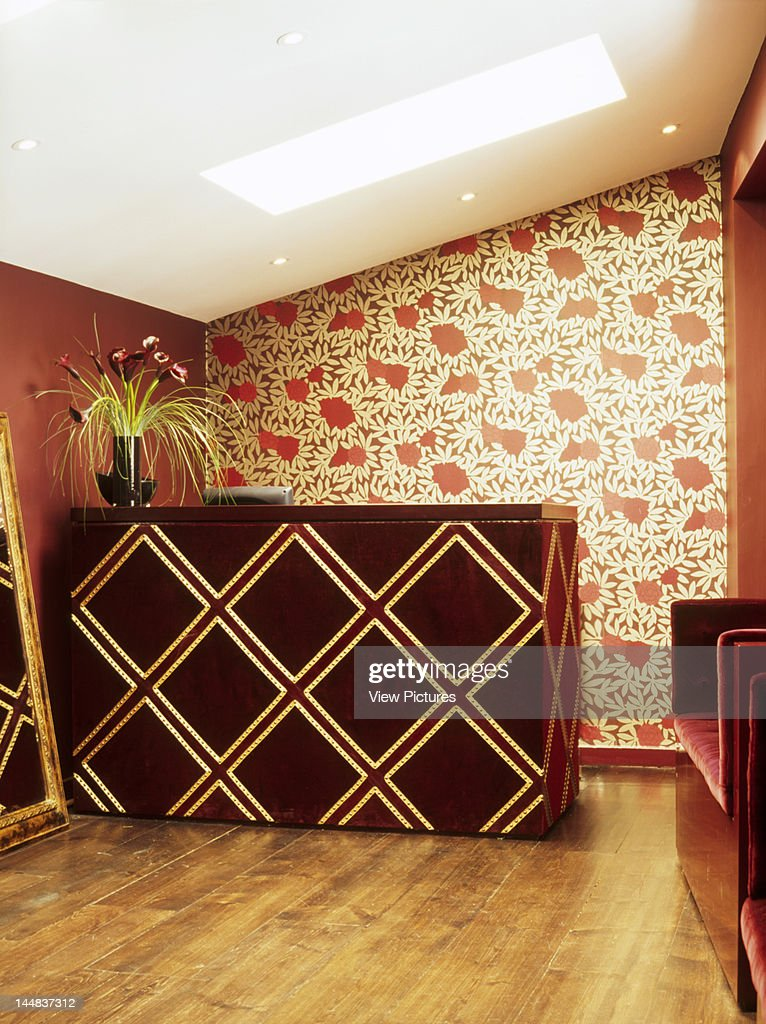 Sejour, Bray Street, London, Sw3, United Kingdom, Architect: Target Living, Sejour, Hair And Beauty Salon, Target Living, London, View Of Desk In Front Of Floral Wallpaper