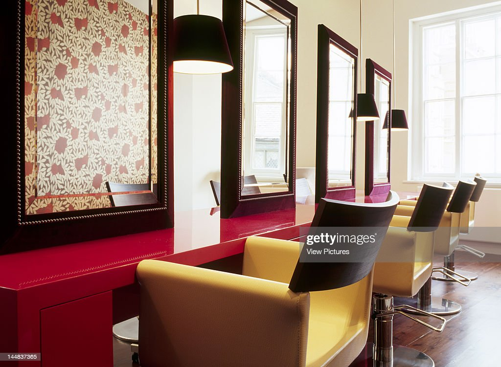 Sejour, Bray Street, London, Sw3, United Kingdom, Architect: Target Living, Sejour, Hair And Beauty Salon, Target Living, London, Overall View Of Chairs, Mirrors And Pink Cabinets