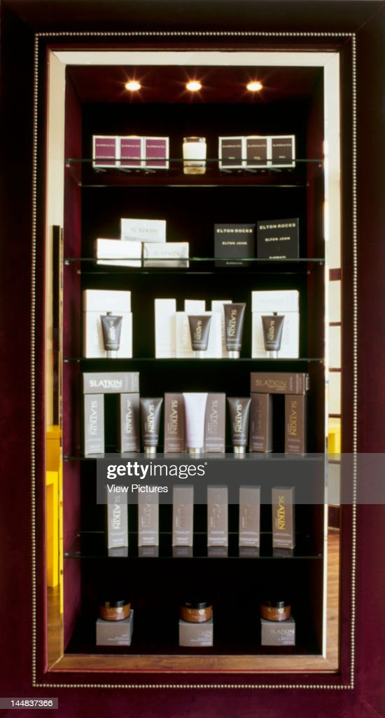 Sejour, Bray Street, London, Sw3, United Kingdom, Architect: Target Living, Sejour, Hair And Beauty Salon, Target Living, London, View Of Display Cabinet With Beauty Products
