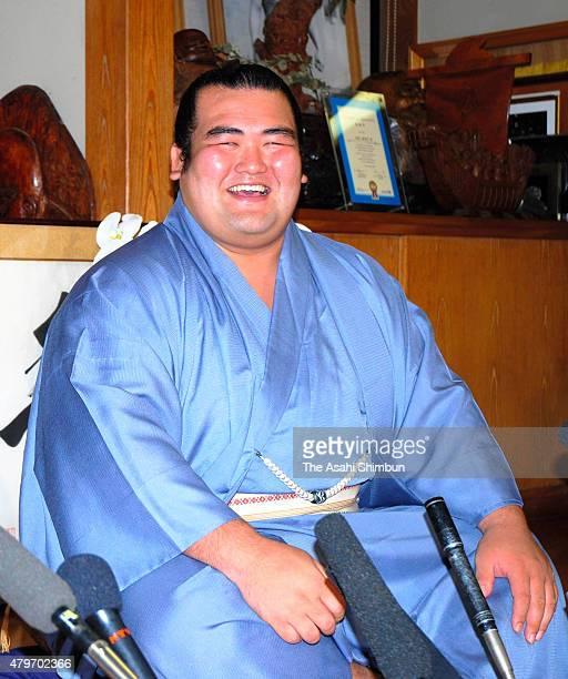 Sekiwake Kotoshogiku speaks during a press conference at Sadogatake Stable on September 26 2011 in Matsudo Chiba Japan
