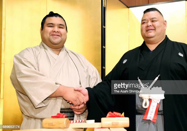 Sekiwake Takayasu attend the reception after day fifteen of the Grand Sumo Summer Tournament on May 28 2017 in Tokyo Japan
