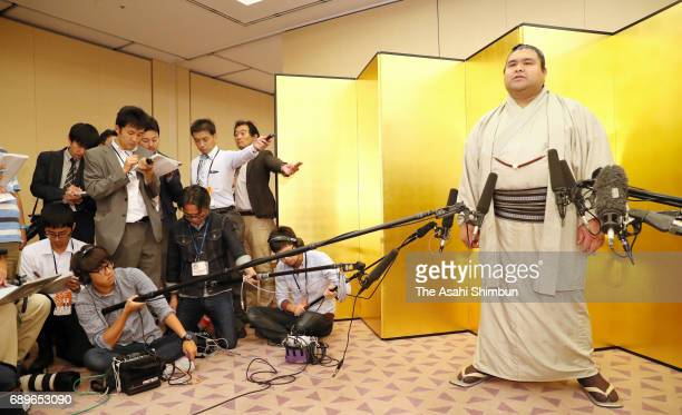 Sekiwake Takayasu speaks to media reporters at the reception after day fifteen of the Grand Sumo Summer Tournament on May 28 2017 in Tokyo Japan