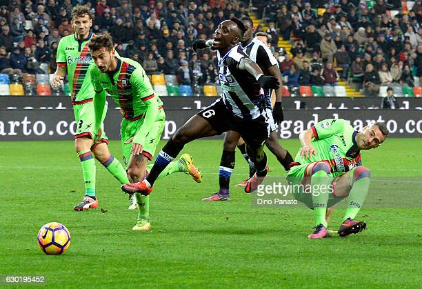 Seko Mohamed Fofana of Udinese Calcio is tackled to Aleandro Rosi of FC Crotone during the Serie A match between Udinese Calcio and FC Crotone at...