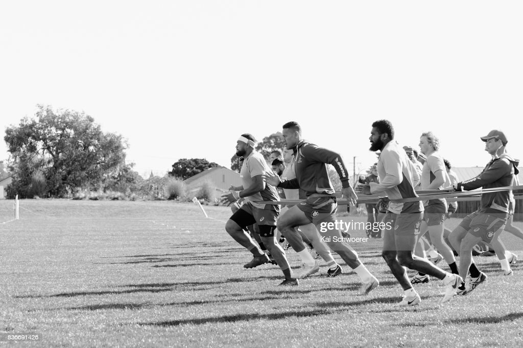 Sekope Kepu, Israel Folau and Marika Koroibete (L-R) run during resistance training at an Australian Wallabies training session at Linwood Rugby Club on August 22, 2017 in Christchurch, New Zealand.