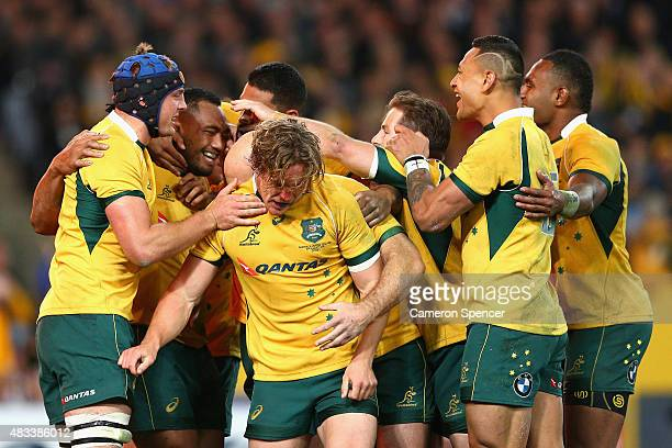 Sekope Kepu of the Wallabies celebrates scoring a try during The Rugby Championship match between the Australia Wallabies and the New Zealand All...
